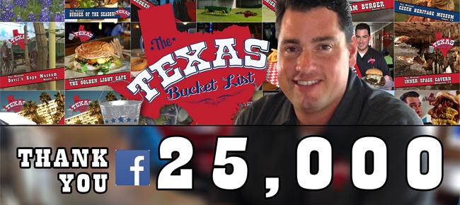 The Texas Bucket List Hits 25,000 Facebook Fans!